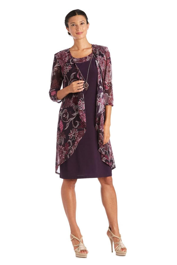 Two-Piece Puff Print Jacket Dress - Plum - Front