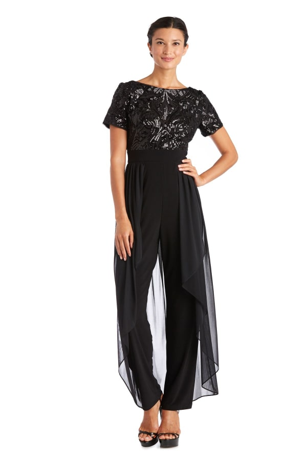 Sequin Bodice High Low Cascade Jumpsuit