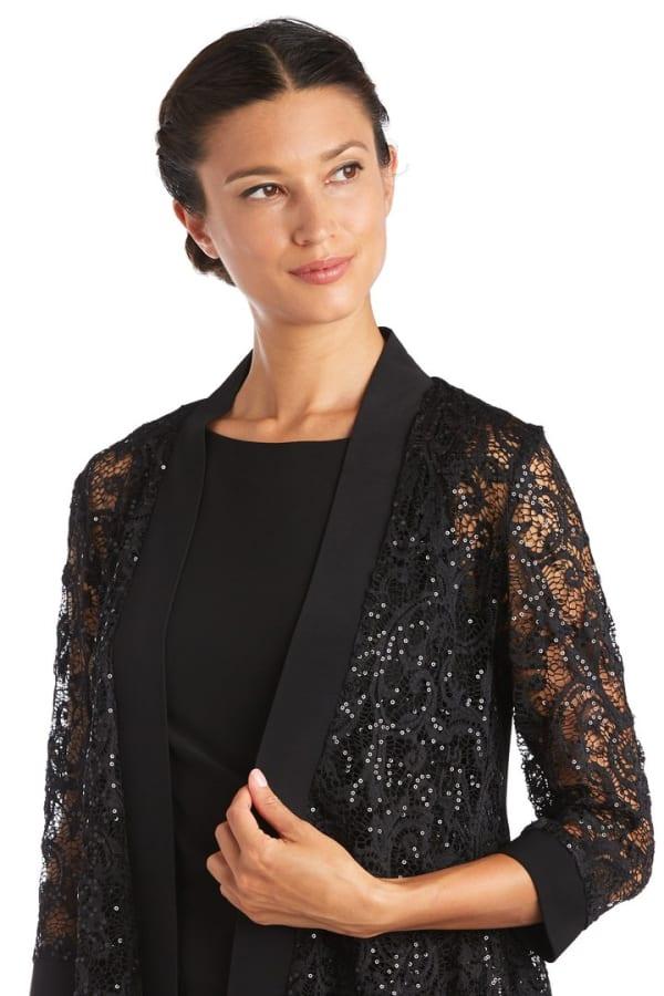 Lace Jacket - Black - Front