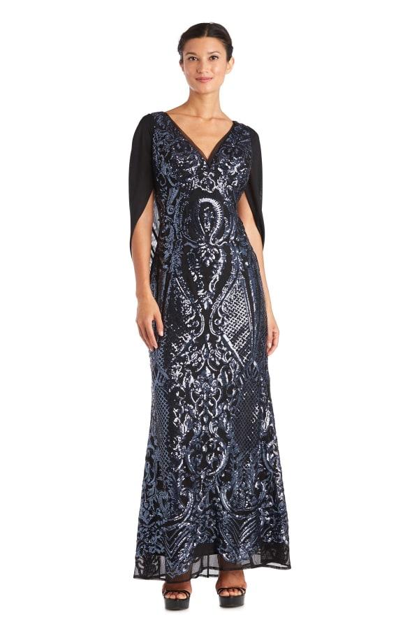 Long Beaded Empire Waist Evening Gown