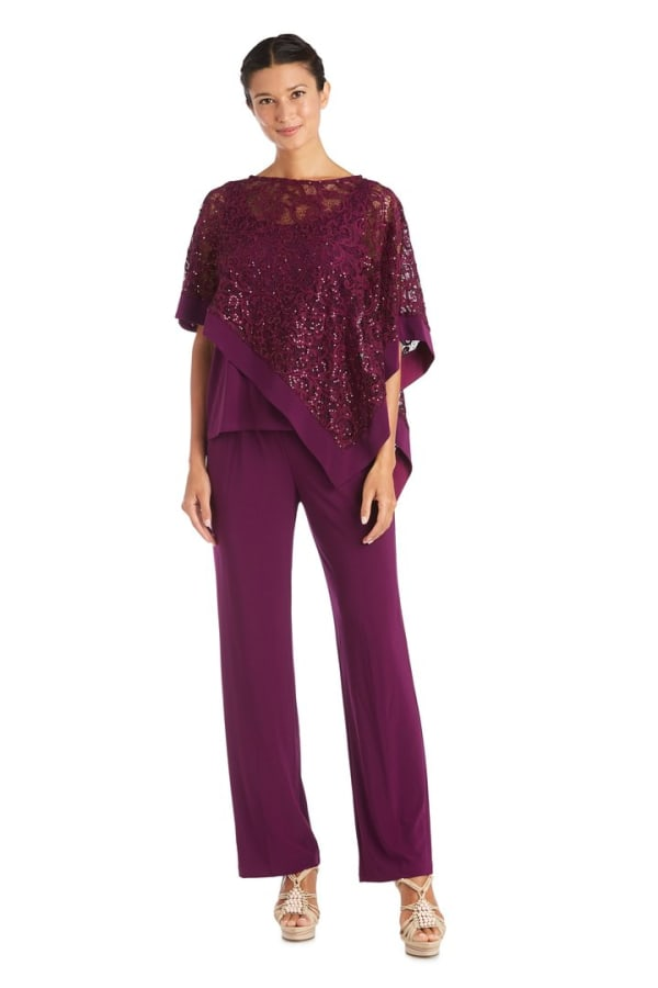 Faux Two-Piece Pant Set with Metallic Asymmetric Poncho -Mulberry - Front