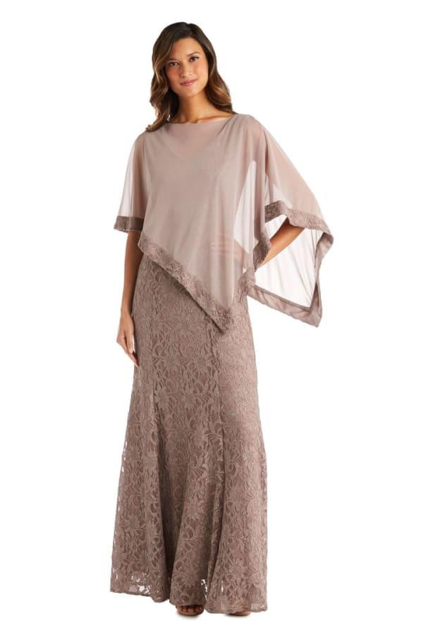Sheer Chiffon Caplet Long Lace Dress - Mocha - Front