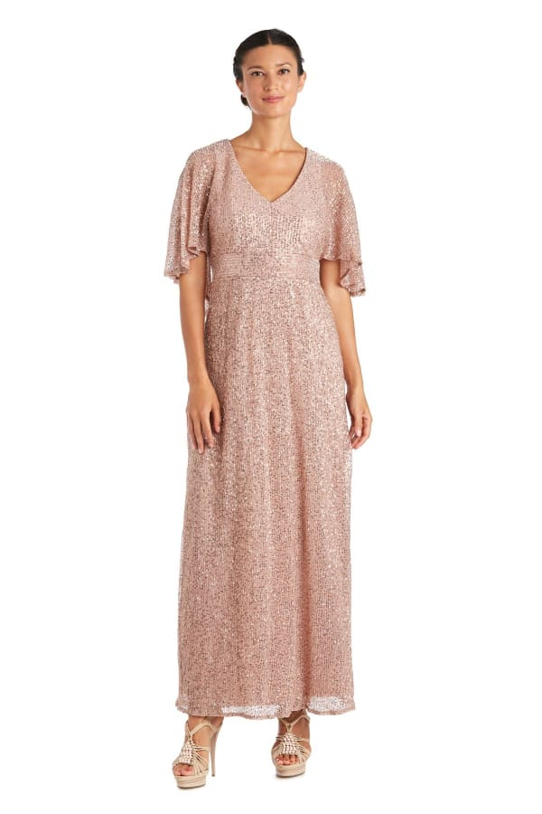 Long Sequin Knit Dress - Rose - Front
