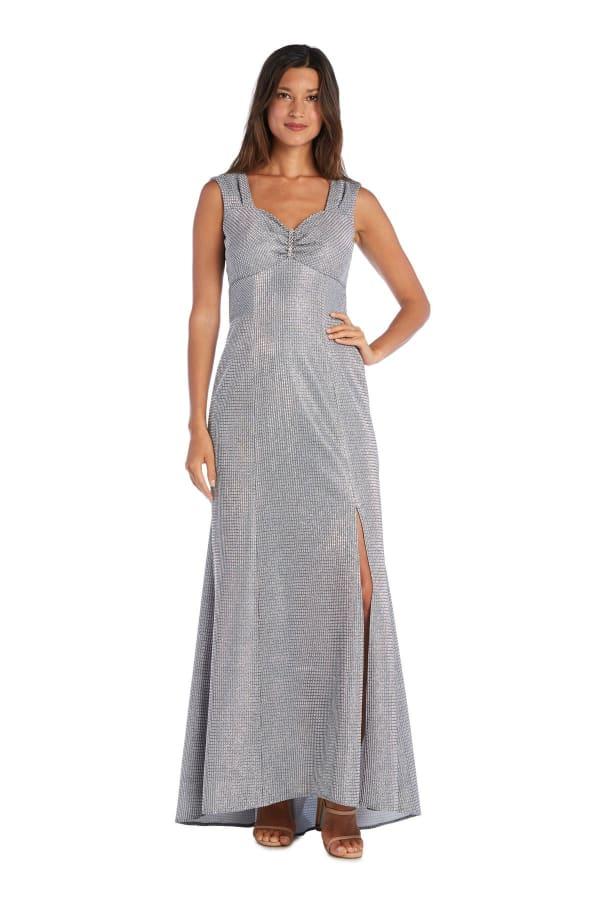 Metallic Sleeveless Dress - Silver - Front