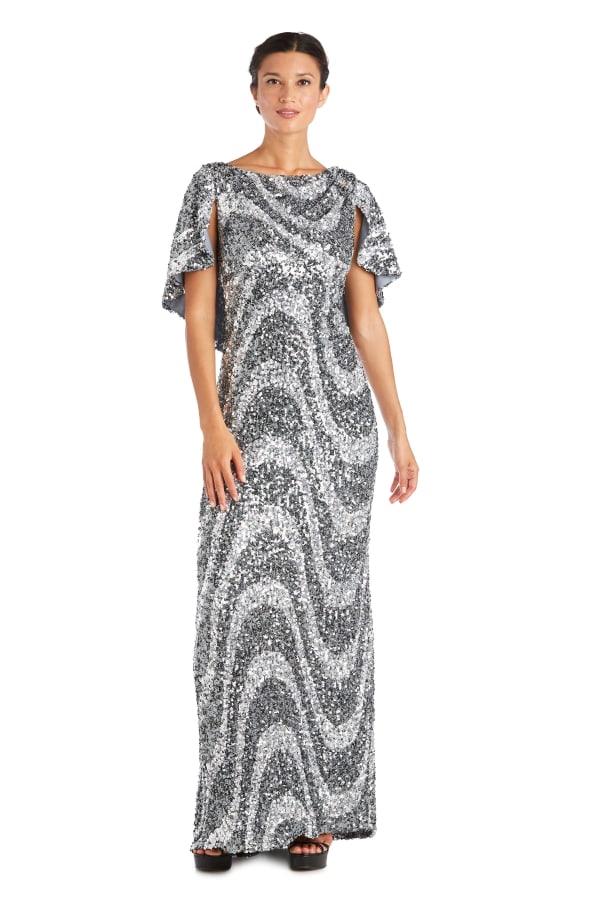 Flutter Capelet Wave Sequin Dress - Silver / Black - Front