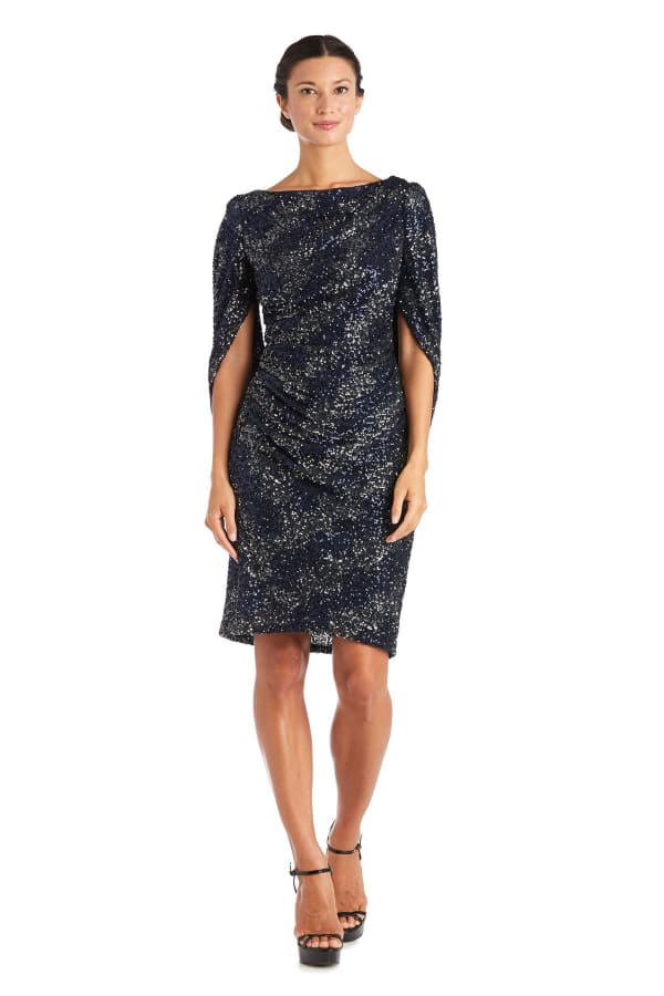 Drape Back Two-Tone Sequin Dress - Navy - Front