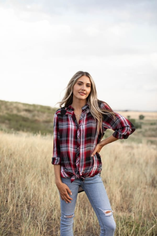 Plaid and Floral Mix Button Front Shirt - Red/Black - Front
