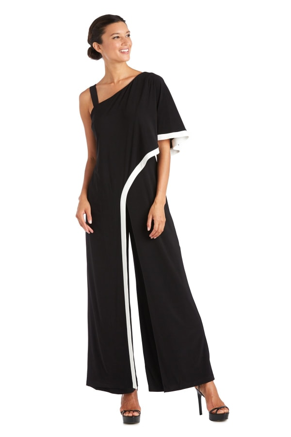 One Shoulder Drape Panel Jumpsuit With Contrast Detail - BLACK/IVORY - Front