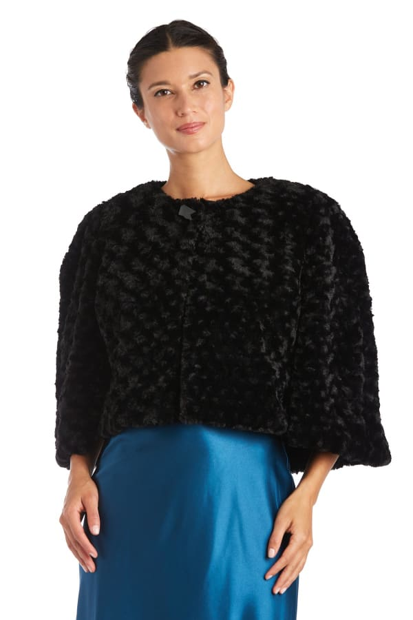 Faux Fur Capelet Jacket - Black - Front