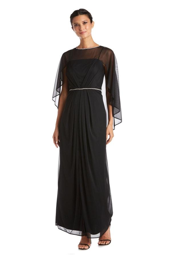 Long Matte Rhinestone Chiffon Dress - Black - Front
