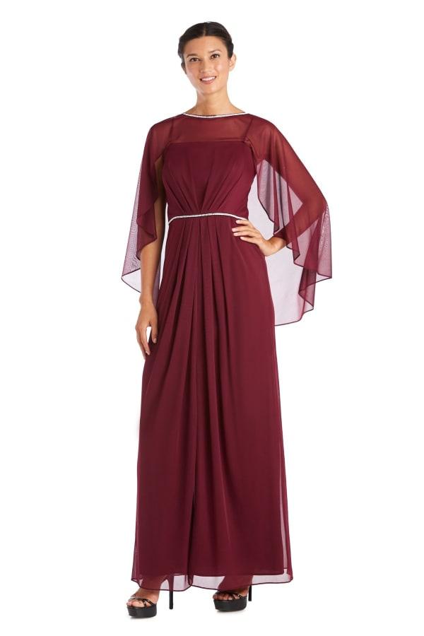 Long Matte Rhinestone Chiffon Dress