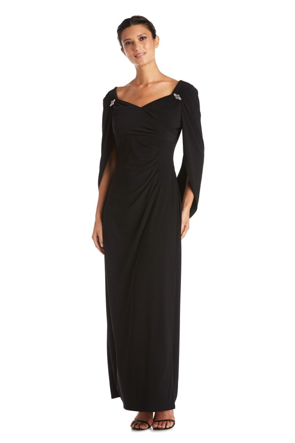 Long Dress with Back Sleeves, Sweetheart Neckline and Pinched Front - Black - Front