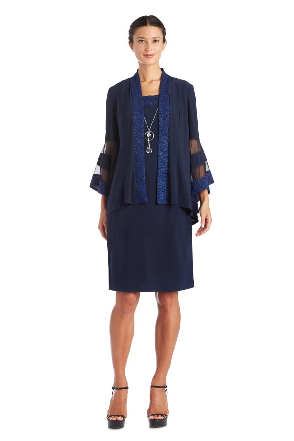 Two-Piece Necklace Sheath Dress & Jacket - Navy - Front