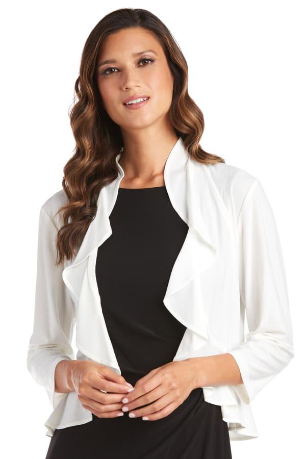 Open Style Ruffle Jacket - Ivory - Front