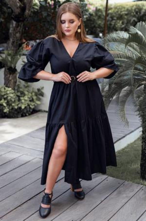 Peony V-Neck Midi Dress - Plus - Black - Front