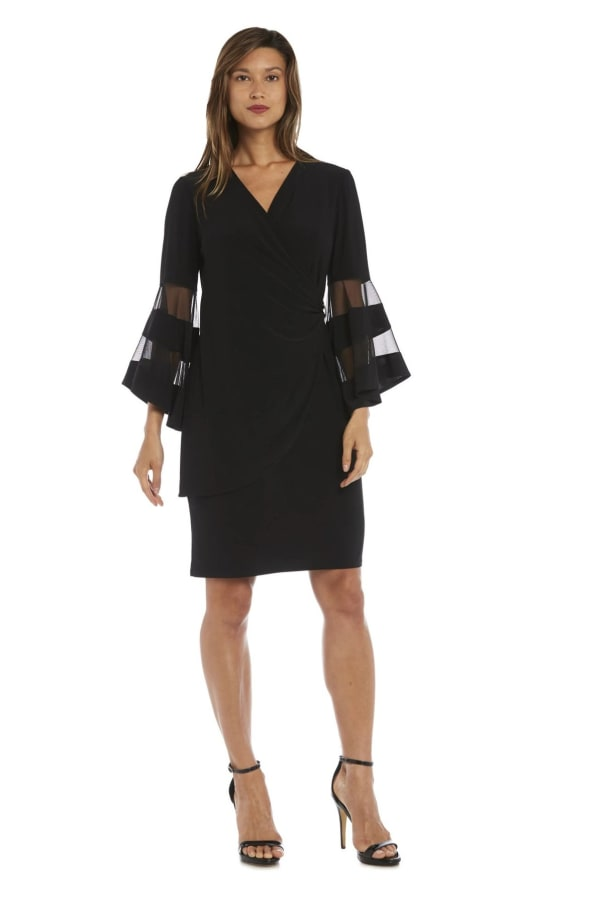 Illusion Bell Sleeve Dress with Rush Rhinestone Detail at Waist -Black - Front