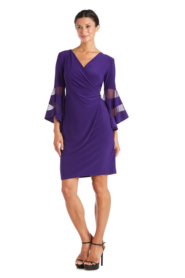 Illusion Bell Sleeve Dress with Rush Rhinestone Detail at Waist - iris - Front