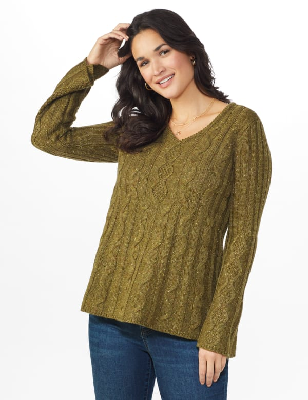 Westport Novelty Yarn Stitch Interest Sweater -Moss - Front