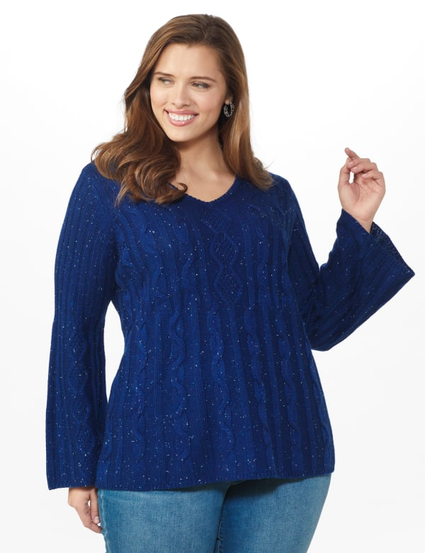 Westport Novelty Yarn Stitch Interest Sweater - Plus - Maritime - Front