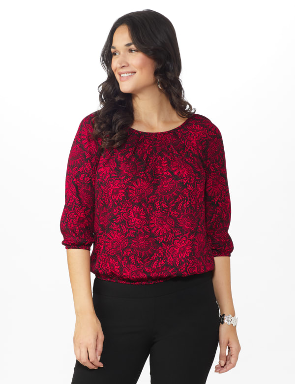 Roz & Ali Red Floral Bubble Hem Blouse-Petite - Red/Black - Front