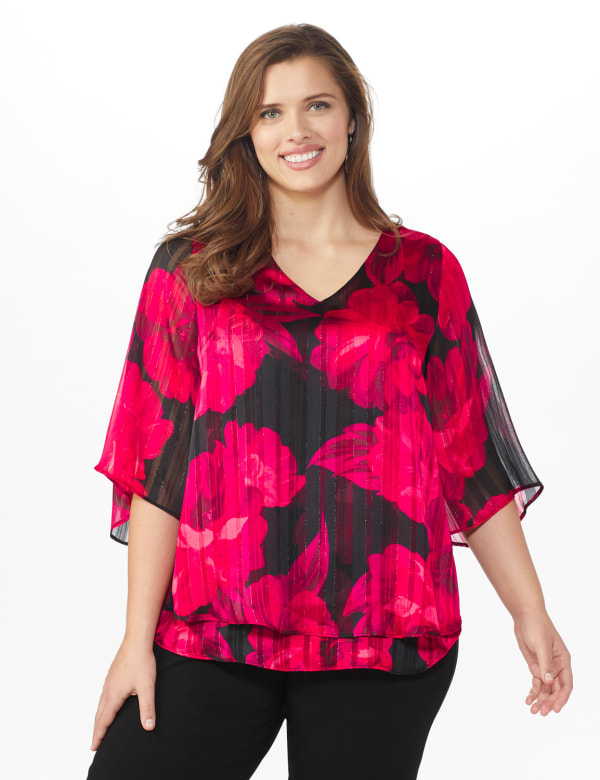 Roz & Ali Floral Lurex Fly Away Back Blouse - Red - Front