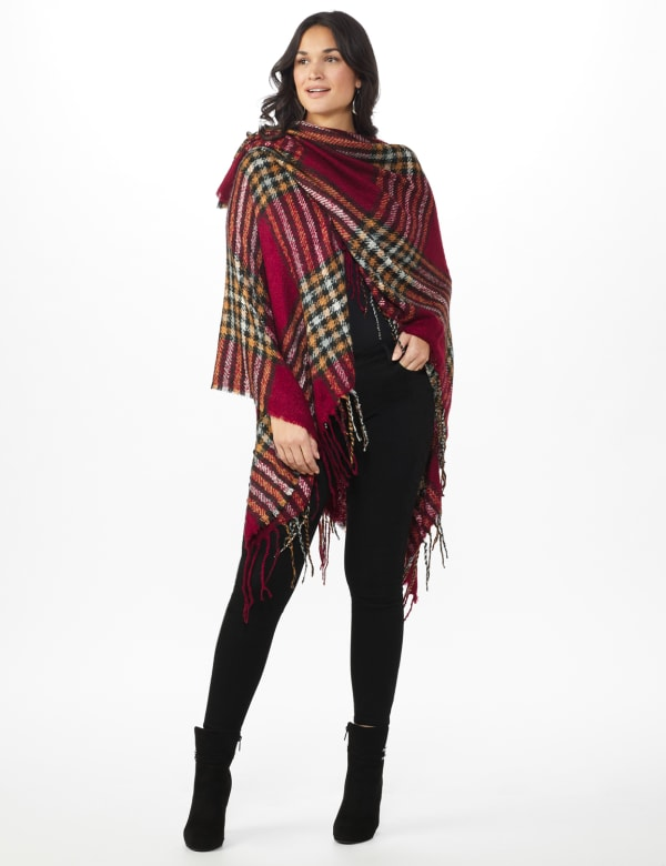 Westport Red Plaid Fringe Wrap Poncho -Red - Front