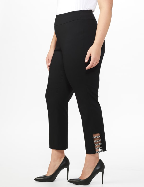 Plus Roz & Ali Pull On Superstretch Ankle Pants with Heat Seal Band Trim - Plus - Black - Front