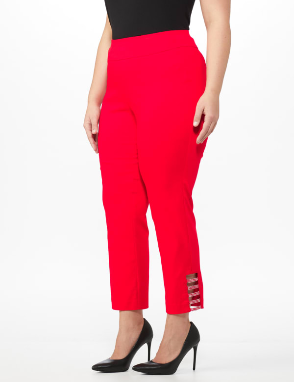 Plus Roz & Ali Pull On Superstretch Ankle Pants with Heat Seal Band Trim - Plus - Firecracker - Front