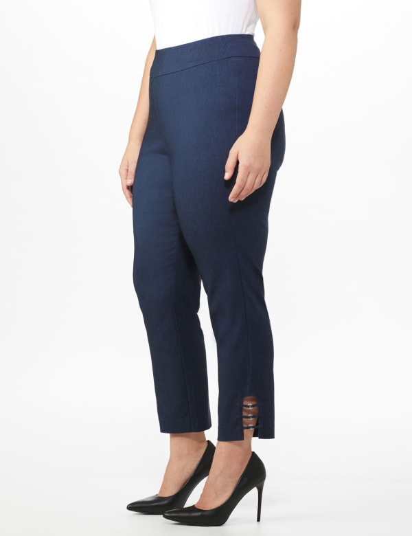 Plus Roz & Ali Superstretch Pull On Ankle Pant with Rhinestone Ring Trim - Plus -Dark denim - Front