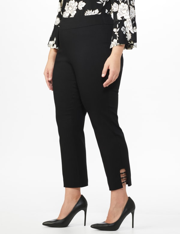 Plus Roz & Ali Superstretch Pull On Ankle Pant with Rhinestone Ring Trim - Plus - Black - Front