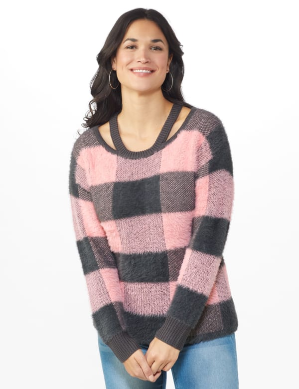 Westport Eyelash Cutout Neck Pullover Sweater -Multi - Front