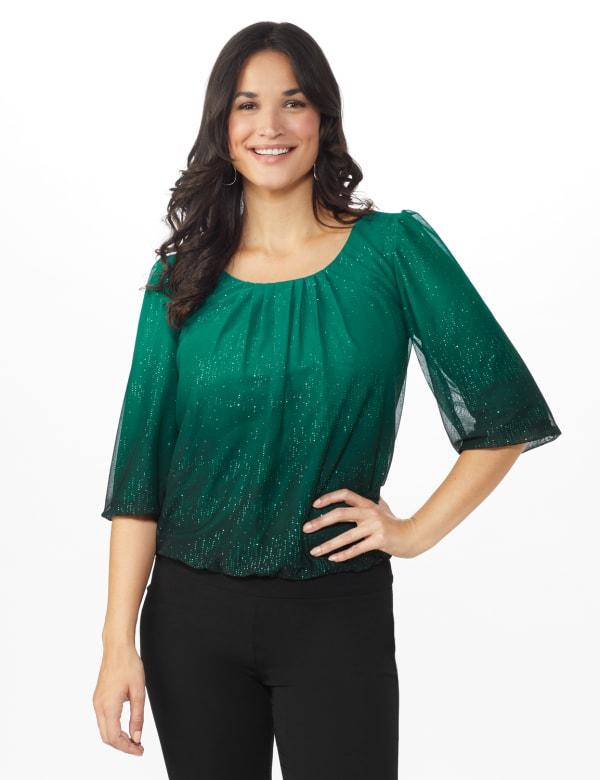 Roz & Ali Emerald Ombre Glitter Bubble Hem Blouse - Petite - Emerald - Front