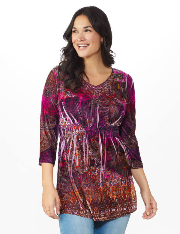 Influential Lady Velvet Knit Tunic Top - Plum - Front