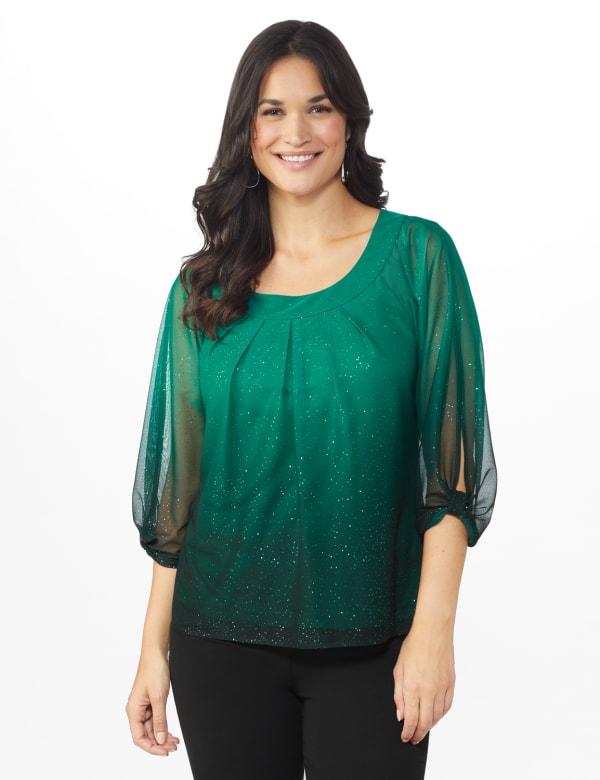 Roz & Ali Emerald Glitter Ombre Bubble Hem Blouse - Emerald - Front
