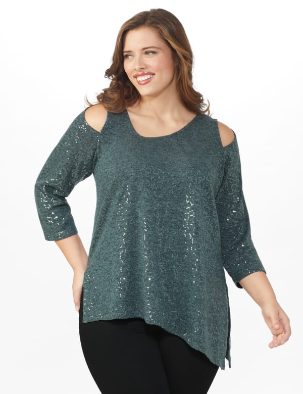 Roz & Ali Cold Shoulder Sequin Tunic Knit Top - Plus - Grey - Front