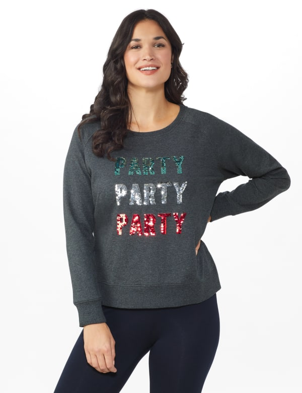 DB Sunday Party Sequin French Terry Sweatshirt - Dark Grey - Front