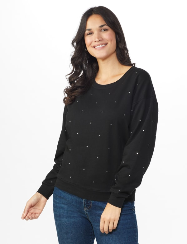 DB Sunday Studded French Terry Sweatshirt - Black - Front