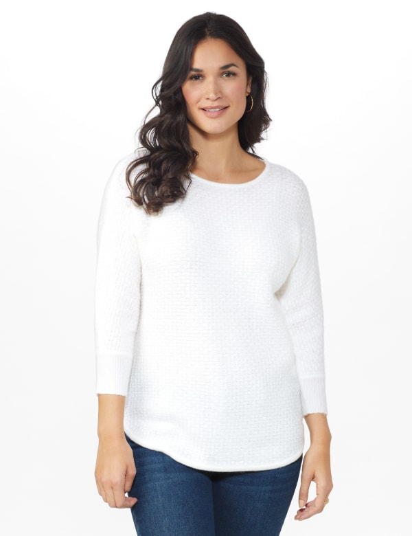 Westport Basketweave Stitch Curved Hem Sweater - White - Front