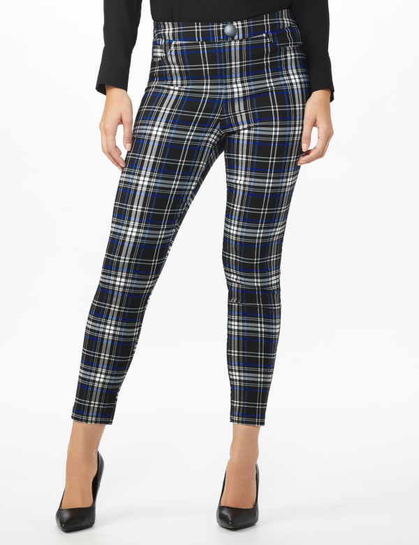 High Rise Plaid Pull On  Jean Style Ankle Pant -Black/UltraMarine - Front