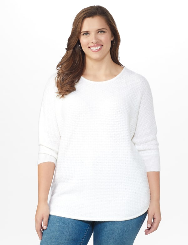 Westport Basketweave Stitch Curved Hem Sweater - Plus - White - Front