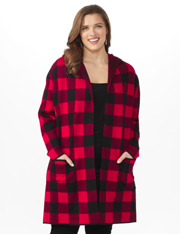 Roz & Ali Buffalo Plaid Sweater Coat - Plus - Red/Black - Front