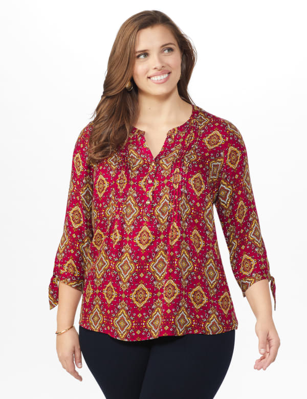 Westport Medallion Woven Pintuck Popover - Plus - Black/Red/Gold - Front