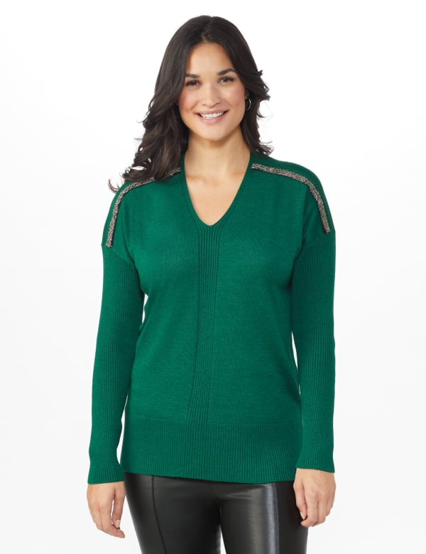 Roz & Ali Beaded Sweater Tunic -Moss - Front