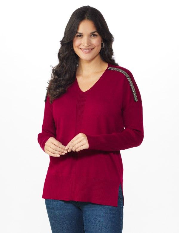 Roz & Ali Beaded Sweater Tunic - Velvet Red - Front