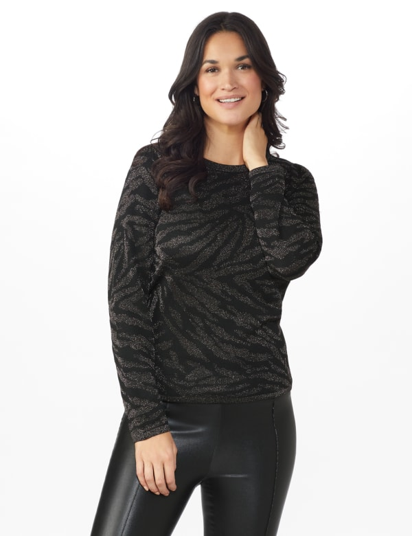 Roz & Ali Animal Lurex Pullover Sweater - Black/Silver - Front