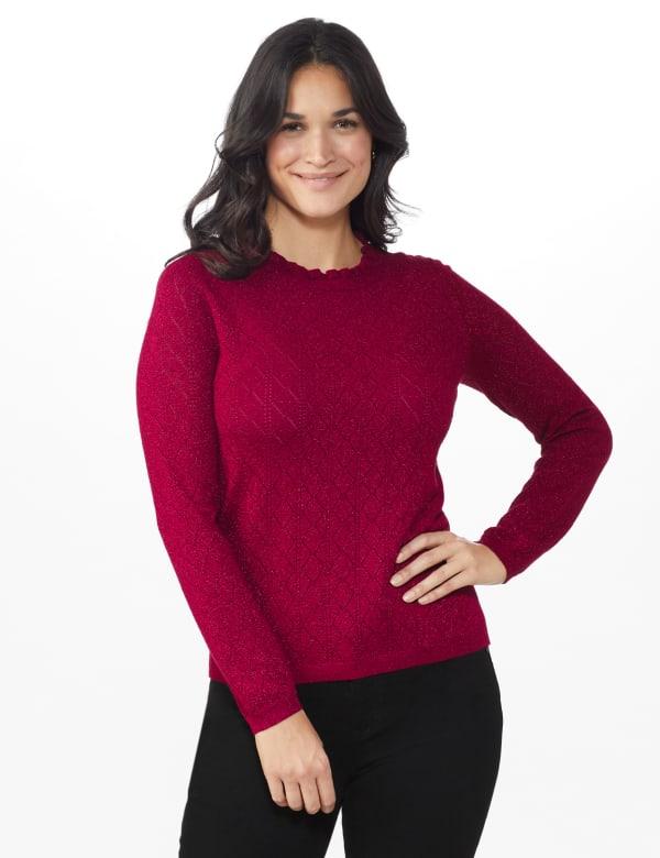 Roz & Ali Pointelle Ruffle Trim Pullover Sweater - Velvet Red - Front