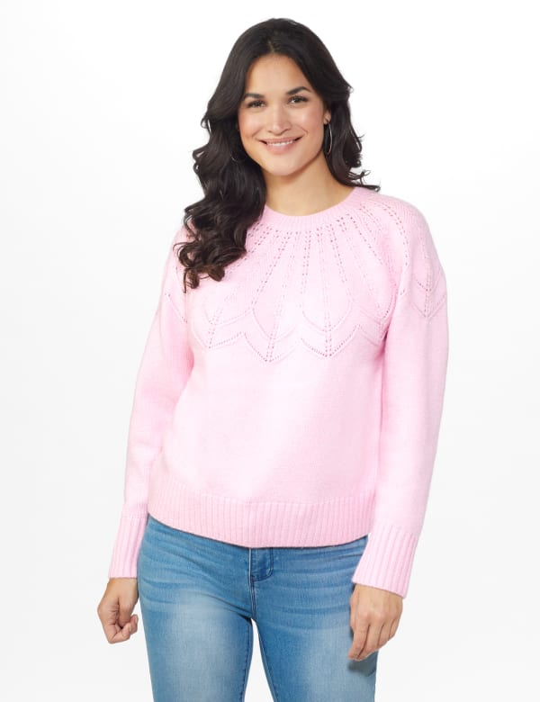 Roz & Ali Pointelle Pullover Sweater - Pink Cream - Front
