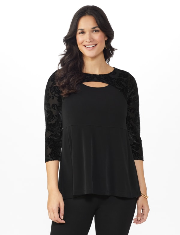 Roz & Ali Keyhole Illusion Fit & Flare Knit Top - Black - Front