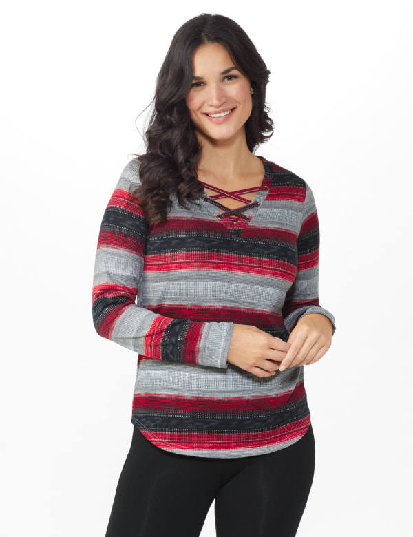 DB Sunday Lace Up Stripe Hacci Knit Top -Multi - Front