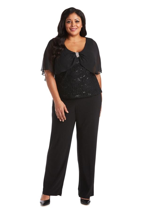 Pinch Front Detail and Lace Caplet Pant Set - Plus - Black - Front
